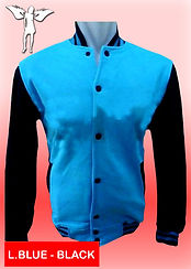 Digital Printing, Silkscreen Printing, Embroidery, Light Blue Black Baseball Jacket, Light Blue Black Fleece Varsity Jacket