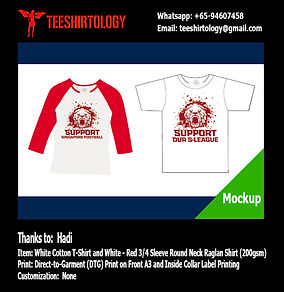 Support SLeague White T-Shirt and Raglan Shirt DTG A3 Printing