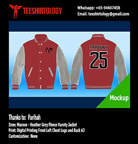 Digital Printing of Maroon Fleece Varsity Jacket