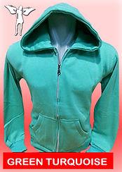 Digital Printing, Silkscreen Printing, Embroidery, Green Turquoise Zipped Hoodie, Green Turquoise Fleece Zipped Hoodie