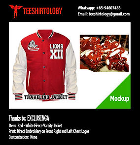 Exclusinga Red Fleece Varsity Jacket Embroidery