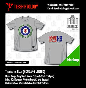 Hougang United Hools Grey Cotton T-Shirt Silkscreen Printing