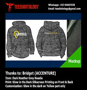 glow in the dark screenprint of Accenture dark heather grey hoodie