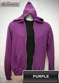 Purple Hooded Sweater, sweater hoodie ungu half zipper