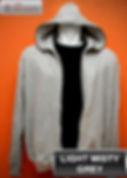 Light Misty Grey Hooded Sweater, sweater hoodie abu misty muda full zipper