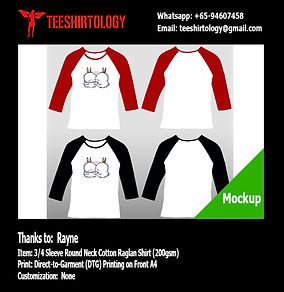 DTG A4 Print of White Cotton 3/4 Sleeve Raglan Couple Shirt