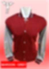 Digital Printing, Silkscreen Printing, Embroidery, Maroon Misty Grey Baseball Jacket, Maroon Misty Grey Fleece Varsity Jacket