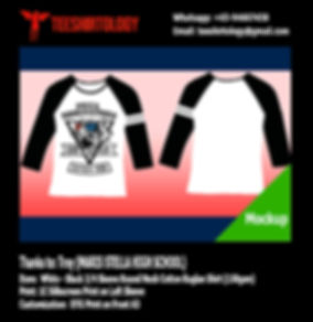 Maris Stella High Class 3/4 Sleeve Cotton Raglan Shirt with Sleeve Screenprint and Front DTG Print