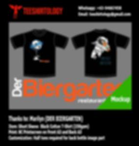 Der Biergarten Restaurant Screenprinted Black Cotton T-Shirt