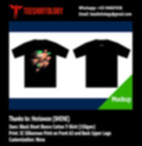 SHINE Label Silkscreen Printed Black Cotton Badminton T-Shirt