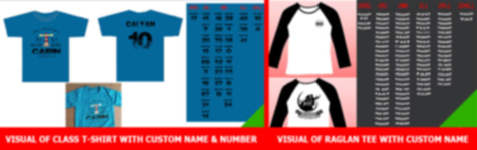 Image editing service shows custom name and number for class tshirt