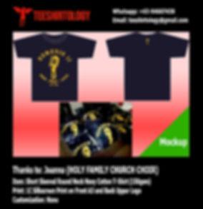 Holy Family Church Choir Silkcreen Printed Navy Cotton T-Shirt