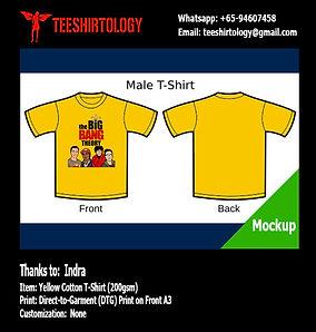 Big Bang Theory Yellow Cotton T-Shirt DTG A3 Print