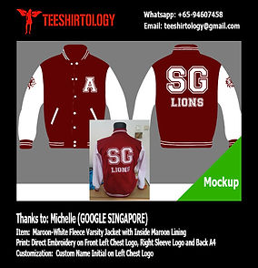 Google Singapore Maroon Fleece Varsity Jacket with Emboidery Custm Name
