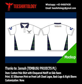 Tembusu Project Screenprinting of Custom Made White Honeycomb Cotton Polo Shirt