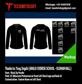 ACS Anglo Chinese School Black Fleece Zip Hoodie Silkscreen Printing with Custom Name