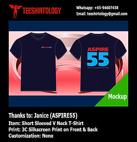 printing of Aspire55 v-neck cotton tshirt