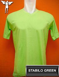 Stabilo Green V-Neck T-Shirt, kaos hijau stabilo