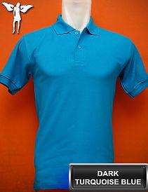 Dark Turquoise Blue Polo Shirt, kaos polo biru turkis tua