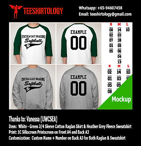 UWCSEA Cotton Raglan Shirt and Fleece Sweatshirt Silkscreen Print with Custom Name and Number