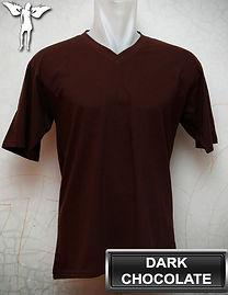 Dark Chocolate V-neck T-Shirt, kaos coklat tua