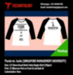 SMU Singapore Management University Screenprint of White 3/4 Sleeve Cotton Raglan T-Shirt