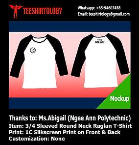 Silkscreen print of Ngee Ann Polytechnic raglan shirt
