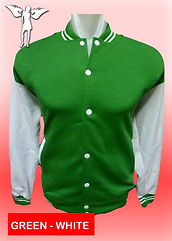 Digital Printing, Silkscreen Printing, Embroidery, Green White Baseball Jacket, Green White Fleece Varsity Jacket