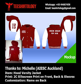screenprint of hood varsity jacket for AIESC Auckland