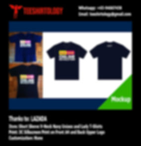 Lazada Navy V-Neck Unisex ad Ladies T-Shirt Silkscreen Printing