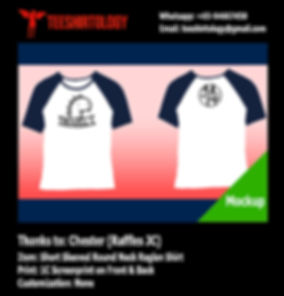 one color printscreen of raffles jc raglan tshirt