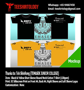 TJC Temasek JC Camp Yellow and Black Cotton T-Shirt Silkscreen Printing