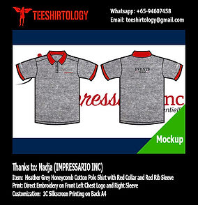 Impressario Heather Grey Honeycomb Cotton Polo Shirt Embroidery