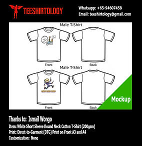 DTG Printing of Funny Cartoon White Cotton T-Shirts