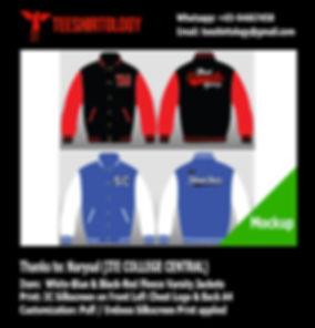ITE College Central Puff Emboss Silkscreen Print of Black Fleece Varsity Jacket