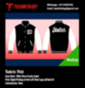 Digital Printing of Black Fleece Varsity Jacket