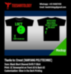 glow in the dark silkscreen print of Nanyang Polytechnic event t-shirt