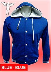Digital Printing, Silkscreen Printing, Embroidery, Blue Blue Hooded Baseball Jacket, Blue Blue Fleece Hooded Varsity Jacket