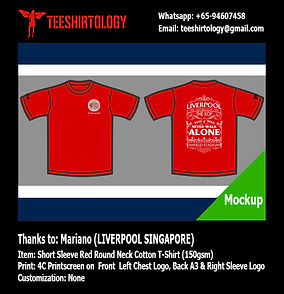 Liverpool Singapore Silkscreen Print of Red Drifit T-Shirt