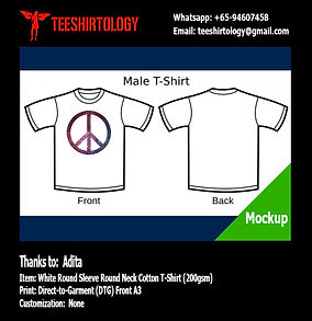 DTG A3 Print of Peace White Cotton T-Shirt