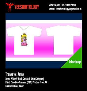 Super Mario Princess White V-Neck Cotton T-Shirt DTG A4 Print