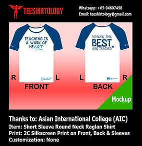 two color screenprint of short sleeve raglan shirt for AIC Singapore