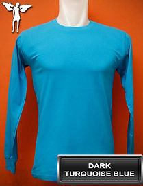 Long Sleeved Dark Turquoise Blue T-Shirt, kaos lengan panjang biru turkis tua
