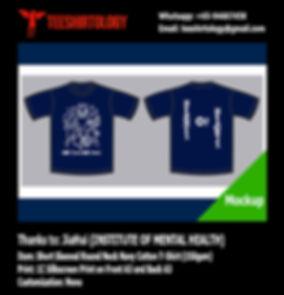 IMH Institute of Mental Health Silkscreen Print Navy Cotton T-Shirt