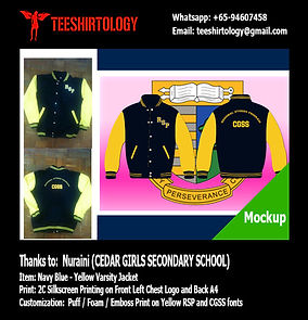 silkscreen printin of Cedar Girls Class Varsit Jacket