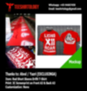 three color printing of Exclusinga Red Drifit T-Shirt