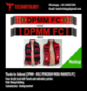 Sleague DPMM Knit Football Scarf with Tassels and Embroidery Patch