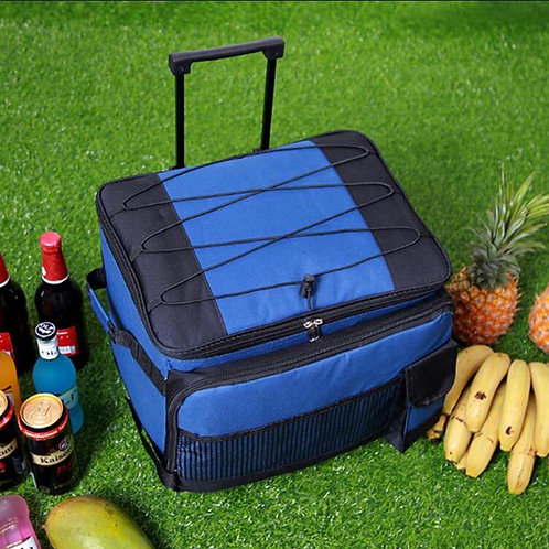 TRAVEL TALE Large Rolling Trolley Insulated Cooler Picnic Bag