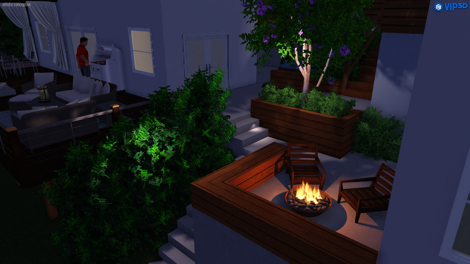 Deck, raised planters and firepit with benches