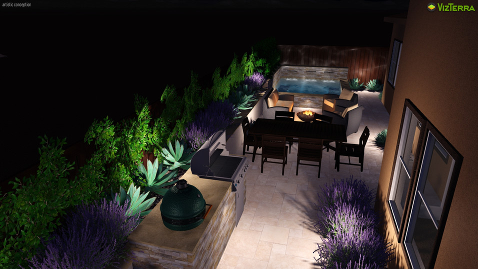 Compact yard with spool, firepit, dining area and built in BBQ